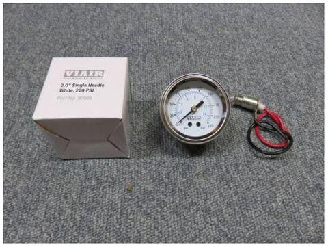 VIAIR エアサス用 エアーゲージ 220PSI シングルタイプ ホワイトフェイス