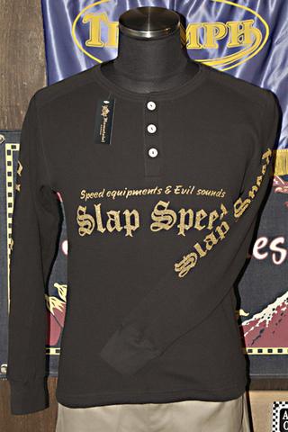 """【SLAP SPEED/HAMATOLA!】L/S Henley Neck Cotton Waffle """"GOLD LOGO"""" Black"""