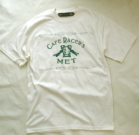 【Cafe Racer's MET】S/S T-SHIRTS (Front Print)Natural×British Green