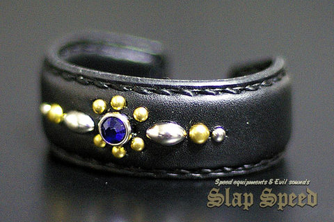 【FLAT FIELD】LEATHER BANGLE(Bracelet) STUDS×BLUE