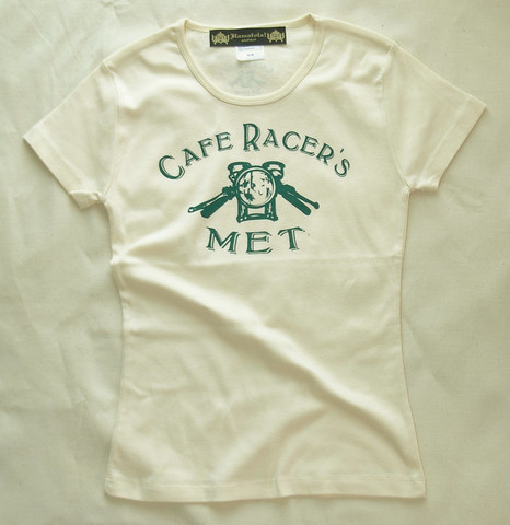 【Cafe Racer's MET】Lady's T-SHIRTS (Front Print)Natural×British Green
