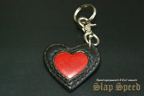 【FLAT FIELD】LEATHER KEY RING / Black×Red