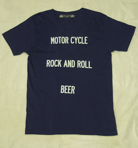 "【HAMATOLA!】""Motorcycle-R&R-Beer"" V-Neck T-Shirts (Navy)"
