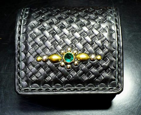 【FLAT FIELD】LEATHER COIN CASE BASKET×STUDS×GREEN