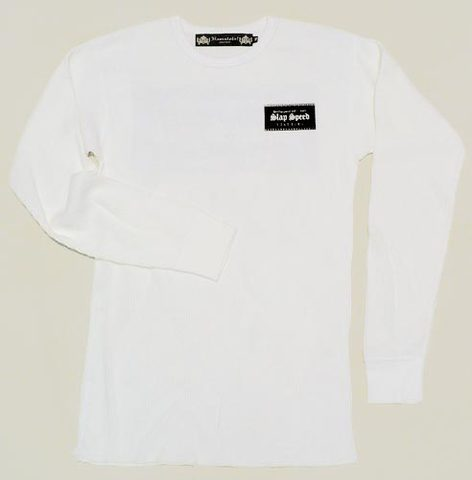 "【SLAP SPEED】""Box Logo"" Long Sleeve Thermal Shirts WHITE"