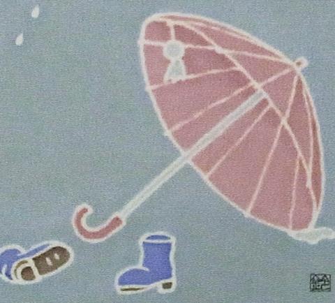 正絹12角額「傘にへのへの」