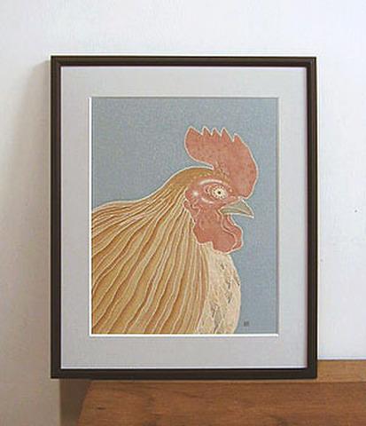 正絹額絵 「鶏・歌麿風」
