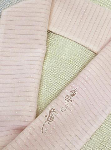 正絹絽塩瀬半衿「タツノオトシゴ」