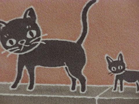 正絹インチ額絵「親子ネコ」