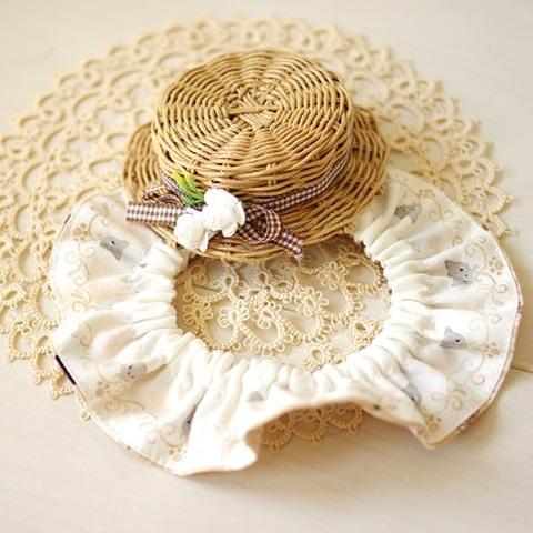 麦わら帽子とひらひら首輪セット