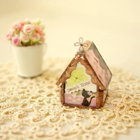 小さな花猫ハウス パープル