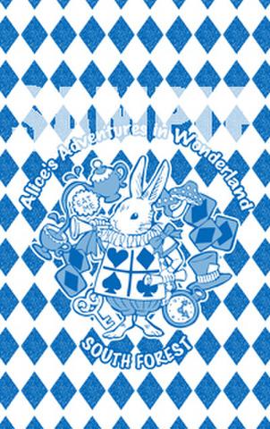 <折りたたみミニミラー>「アリスうさぎ(青)」+おまけメモカード