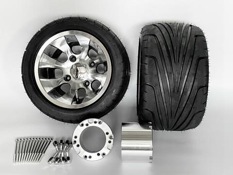 ジャイロ用ツートンアルミホイール引っ張りタイヤ&スペーサー100mmセット品番381