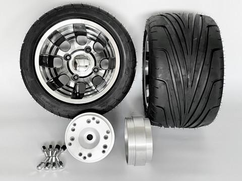 4stジャイロ用ブラックアウトアルミホイール引っ張りタイヤ&スペーサーセット品番384