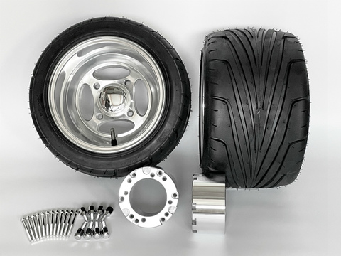 ジャイロ用クロスアルミホイール引っ張りタイヤ&スペーサー70mmセット品番376