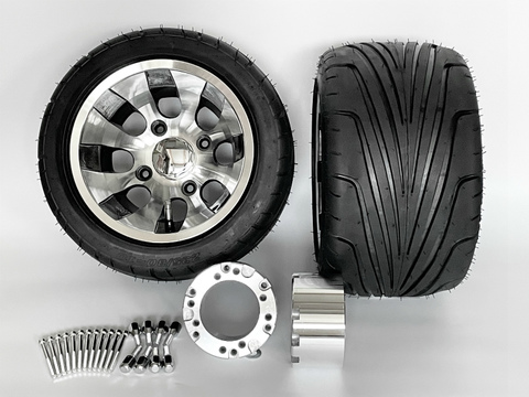 ジャイロ用ツートンアルミホイール引っ張りタイヤ&スペーサー70mmセット品番374