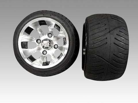 ホンダジャイロにツートンアルミホイール扁平タイヤ品番091