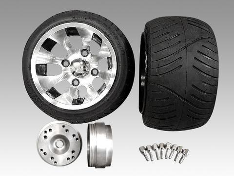 4stジャイロ用ツートンアルミホイール扁平タイヤ&スペーサーセット品番226