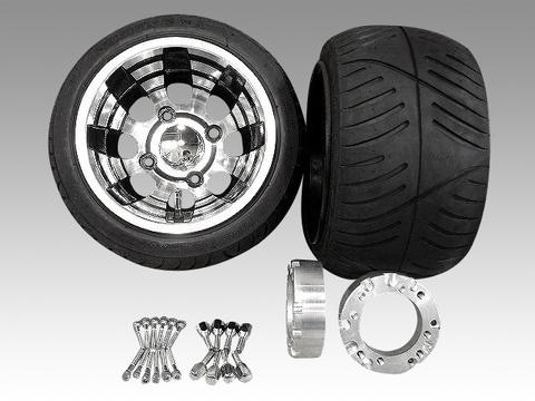ジャイロ用ブラックアルミホイール扁平タイヤ&スペーサー40mmセット品番149