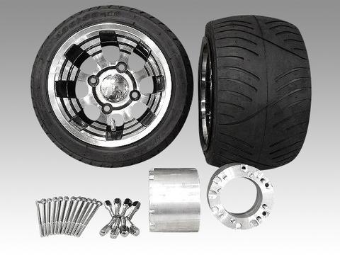 ジャイロ用ブラックアルミホイール扁平タイヤ&スペーサー100mmセット品番151