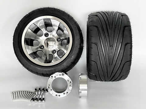 ジャイロ用ツートンアルミホイール引っ張りタイヤ&スペーサー40mmセット品番370