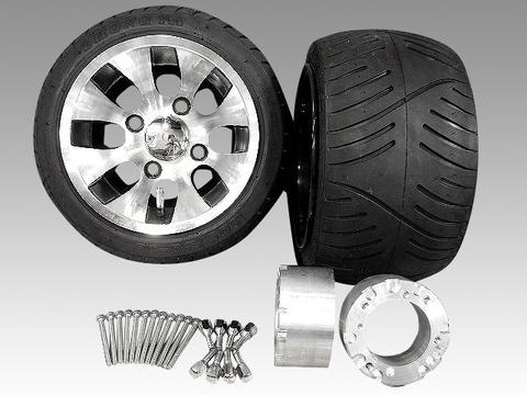ジャイロ用ツートンアルミホイール扁平タイヤ&スペーサー70mmセット品番153