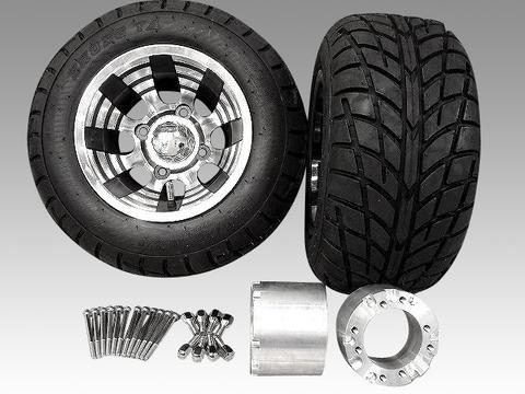 ジャイロ用ブラックアルミホイールバギータイヤ&スペーサー100mmセット品番139