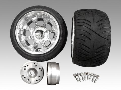 4stジャイロ用迫力中反りアルミホイール扁平タイヤ&スペーサーセット品番224