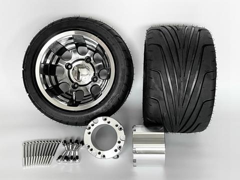 ジャイロ用ブラックアルミホイール引っ張りタイヤ&スペーサー100mmセット品番380