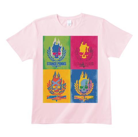 4色スカルTシャツ<ピンク>