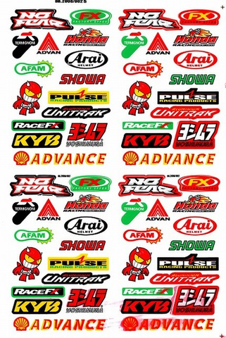 AFAM ADVAN FX ARAI SHOWA UNITRAK YOSHIMURA ADVANCE KYB RACEFX PULSE HONDA ステッカー B5 N026