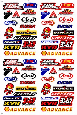 AFAM ADVAN FX ARAI SHOWA UNITRAK YOSHIMURA ADVANCE KYB RACEFX PULSE HONDA ステッカー B5 N027