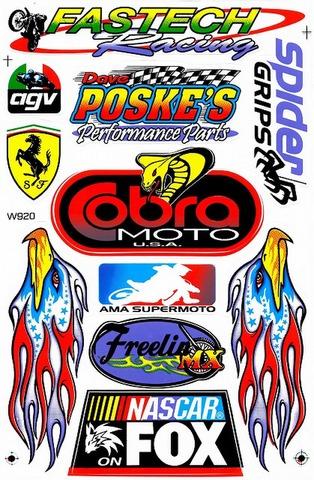 AGV FASTECH POSKES SPIDER COBRA AMA FOX NASCAR ステッカー B5 N075