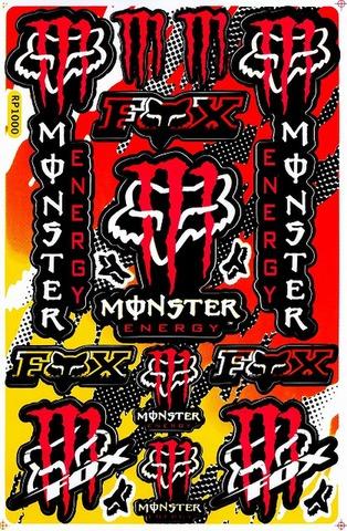 EMONSTER ENERGY(モンスターエナジー) FOX フォックス ステッカー B5 N007