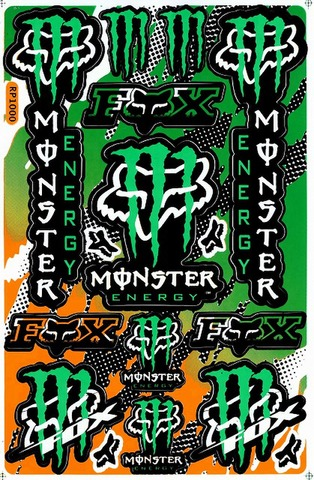 EMONSTER ENERGY(モンスターエナジー) FOX フォックス ステッカー B5 N008