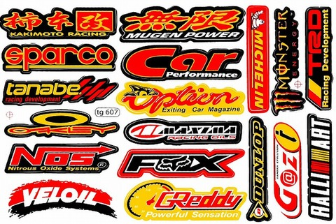 KAKIMOTO MUGEN SPARCO TANABE OAKLEY NOS VELOIL CAR OPTION MAXIMA FOX GREDDY DUNLOP MICHELIN MONSTER RALLIART ステッカー B5 N040