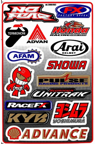 NOFEAR ADVAN HONDA SHOWA PULSE RACEFX KAYABA ADVANCE YOSHIMURA UNITRAK ARAI AFAM  ステッカー B5 N061