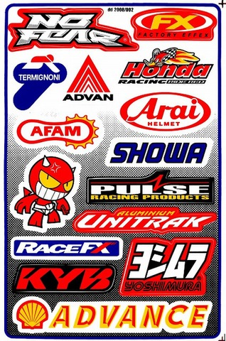 NOFEAR ADVAN HONDA SHOWA PULSE RACEFX KAYABA ADVANCE YOSHIMURA UNITRAK ARAI AFAM ステッカー B5 N060