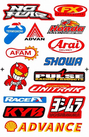 NOFEAR ADVAN HONDA SHOWA PULSE RACEFX KAYABA ADVANCE YOSHIMURA UNITRAK ARAI AFAM ステッカー B5 N066