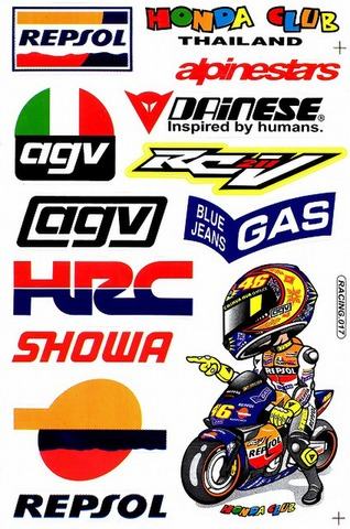 REPSOL AGV Valentino Rossi GAS HRC SHOWA DAINESE AIPINESTARS ステッカー B5 N212