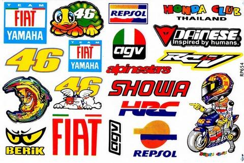 YAMAHA FIAT 46 DAINESE AGV BERIK AGV REPSOL HRC SHOWA ALPINESTARS Valentino Rossi ステッカー B5 N210