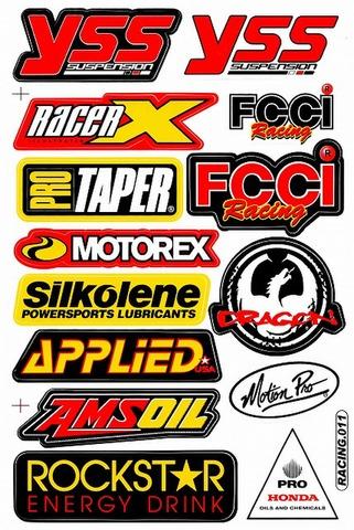 YSS RACEERX FCCI MOTOREX SILKOLENE APPLIED AMSOIL ROCKSTER HONDA DRAGON ステッカー B5 N055