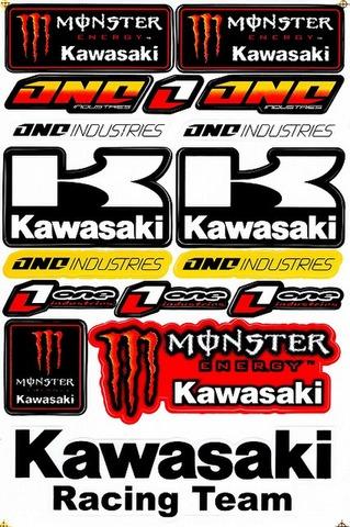 EMONSTER ENERGY(モンスターエナジー) kawasaki カワサキ One Industries ステッカー B5 N172