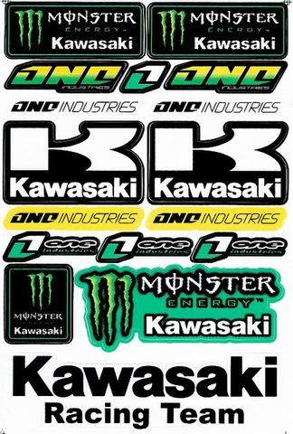EMONSTER ENERGY(モンスターエナジー) kawasaki カワサキ One Industries ステッカー B5 N180