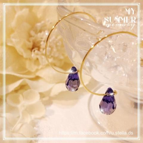 紫雫のスワロフスキーがとってもエレガント♡ 揺れる樹脂ピアス