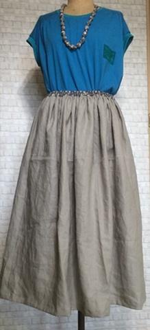 やさしいリネンのギャザースカート