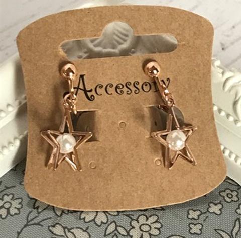 星とパールのイヤリング