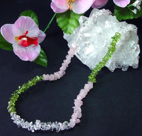 さざれ石ネックレス・水晶&ローズクオーツ&ペリドットNo.4598