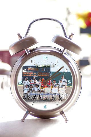 写真入り録音機能付目覚し時計-2【グレージュ】(数字)