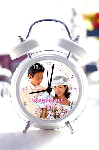写真入り録音機能付目覚し時計-2【ホワイト】(数字)